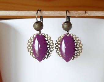 earring shape olive purple sequin and rosette filigree
