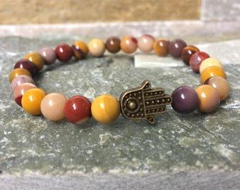 Hamsa bracelet Mookait mala bracelet