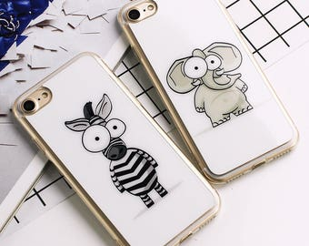 Custom Print  Cartoon Animals Elephant Zebra