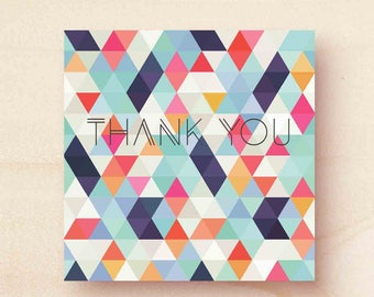 Thank you geometric design printed greetings card