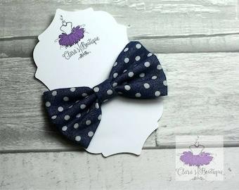 Denim Hair Clips, Bow Hair Clips, polka dot Denim hair clip, Fabric bow, Hair bow