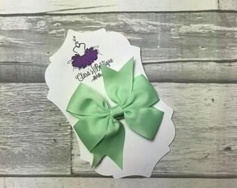 Hair Bow, Hair Clips, Bow Hair Clips, polka dot Denim hair clip, Fabric bow, Mint Green
