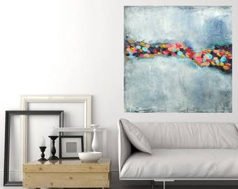Large painting multicolored spots on white background and textured gray made to order