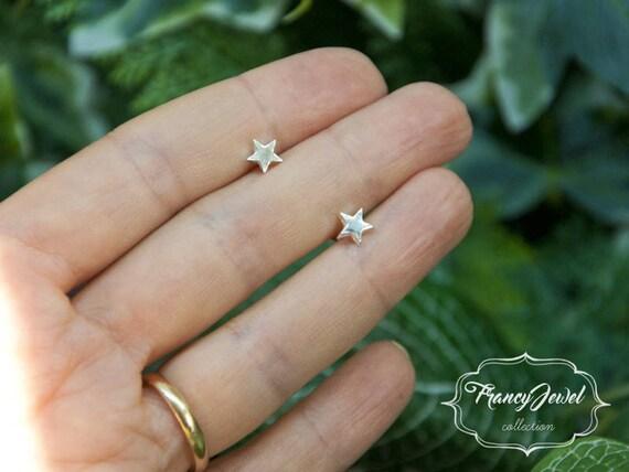 Stars earrings, silver ear pins, stud earrings, fine silver earrings, elegant earrings, best friend gifts, made in Italy, nichel free