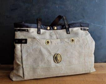 Grain sack bag, antique grain sack oiled cowhide leather