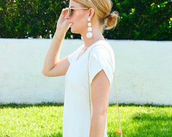 "PREORDER (Ships July) The Lido: A ""Bon Bon"" Style White Pom Pom Earring"