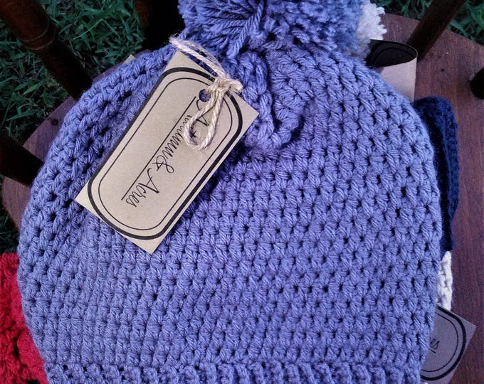 Colorful Crochet Pom Pom Beanie Hat