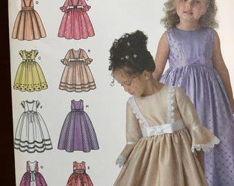 Simplicity uncut girls formal dress pattern siz BB (5,6,7,8)