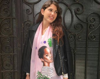 handpainted scarf trendy artistic fashionable and very unique