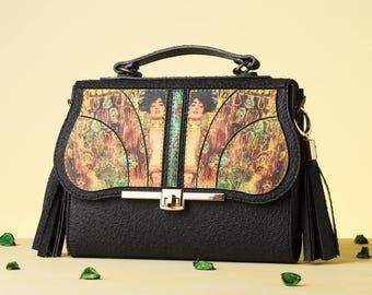 Touch of Art - Judith Crossbody Bag | Handmade, Eco Leather Bag, Leather, Klimt, Black, Handbag, Pendant