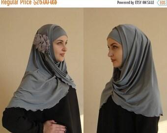 10% OFF Hijab Two Piece,Al Amira style,gray Hijab,Pret A Porter Hijab,  hijab with flower, prayer scarf, Muslim hijab, islamic scarf, eid gi