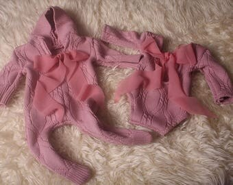 RTS Upcycled,Newborn baby Girl,hooded onesie with fee, medium weight wool,in cable style pattern,rose pink