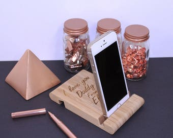 Personalised Phone Stand, wood phone, gadget for man, tech gift, gift for dad, iphone holder, personalised gift, Father's Day gift