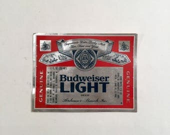 Anheuser Busch Budweiser Light Unused Vintage Bottle Label, Ca: 1980s.