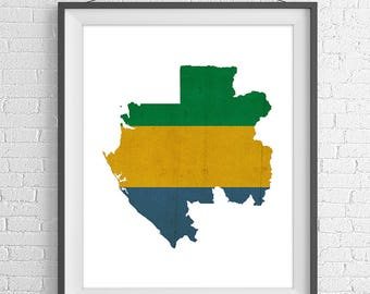 Gabon Flag Map Print, Gabon Map, Gabon Silhouette Wall Art, Moving Gift, Housewarming Gift, Vintage Flag Poster, Map of Gabon, African Gift