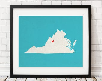 Custom Virginia State Art, Customized State Map Art, Personalized Gift, Virginia Art, Richmond VA Heart Map, Virginia Map, Virginia Print