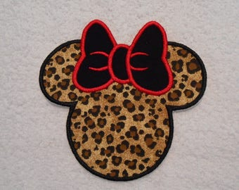Large Cheetah Minnie Mouse Iron on Applique Patch