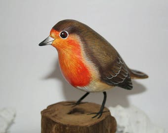 Robin, hand carved bird, wood bird, hand-painted, forest bird hand-carved, colorful birds, wooden base