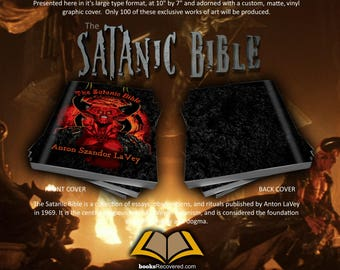 The Satanic Bible - Anton LaVey - Devil Design by BooksRecovered FREE SHIPPING