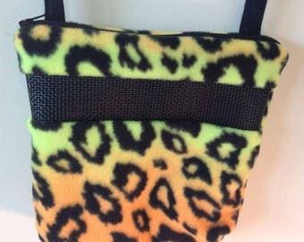 Sugar Glider Bonding Pouch, baby hedgehog bonding bag, small exotic nesting supplies, zipper bag, snuggle sack, Yellow Cougar Print Fleece