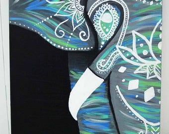 Mandala Elephant Acrylic Canvas Painting