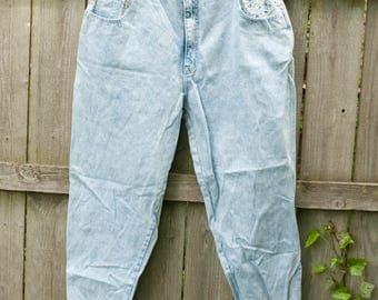 VINTAGE Plus Size Vintage Jeans with Floral Accents