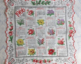 1966 Scalloped Calendar Handkerchief with Flowers