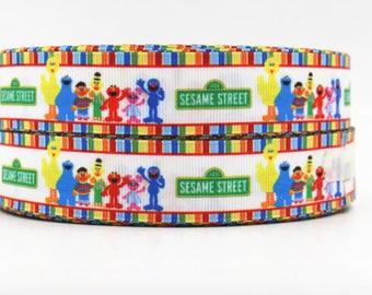 "Sesame Street Grosgrain 1"" Printed Ribbon, Big Bird, Cookie Monster, Groover Ribbon"