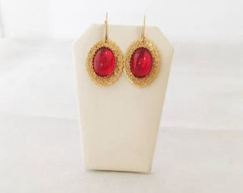 Hot Summer Sale Ruby Red Drop Earring - 24kt. Gold Plated - Handmade