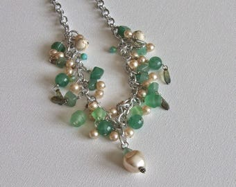 Silver & jade earrings and necklace set