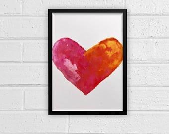 Watercolor Heart Digital Print