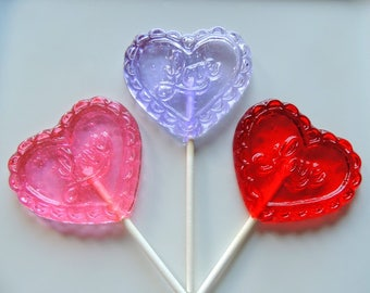 8 Love Hearts Lollipops Valentine Party Lace Sweetheart Valentines Day Wedding Favors Candy