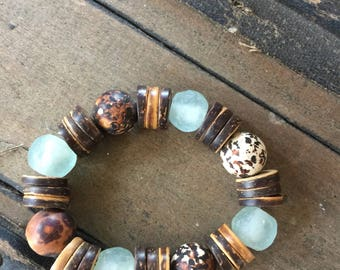 African Glass, Coconut and Stone Bracelets