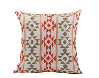 Aztec decorative pillow cover Ethnic throw pillow covers Navajo pillow case Rustic pillow cases Linen cushion covers Home decor gift 18x18