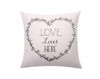 Valentine's day gift pillow cover Letters throw pillow covers Quote decorative pillow case Words cushion cover Valentines pillow decor 18x18