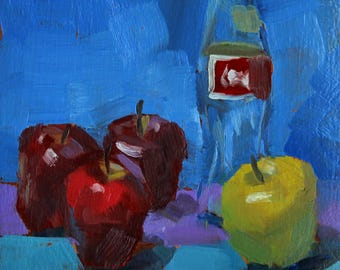 """Small Still Life Oil Painting """"Apples Orchestrated"""" 6x6 Original Art on Paper"""