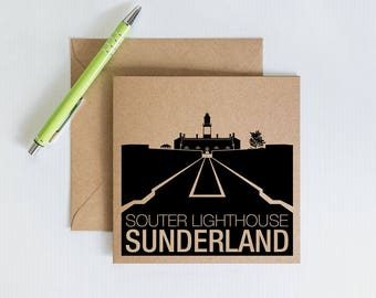 Handmade Retro Greeting Card, souter lighthouse sunderland, Geordie Novelty card, Kraft Recycled Card, Card for family and friends