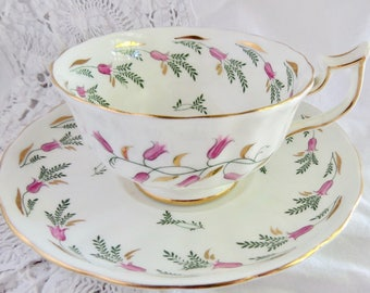 Royal Chelsea Pink & Green Floral Pattern 4265 English Bone China Teacup and Saucer Birthday/Housewarming Teacup Gift