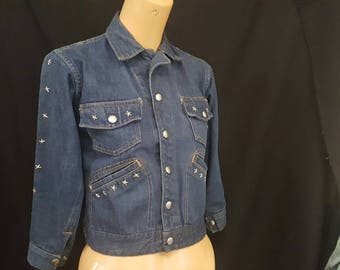 Vintage 60s 70s Star Studded Embroidered Denim Jean Crop Jacket Groovy XS