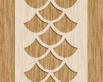 """Extra Large Fish Scale Large Pattern Stencil - Sku AP0113 (8.5"""" x 11"""")"""