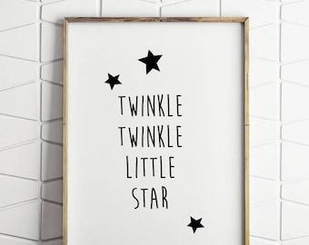 baby wall art, word wall art, childrens wall art, printable wall art, little star wall art, little star print