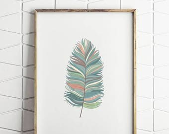 70% OFF SALE blue feather wall decor, feather printable art, feather art, feather decor, feather wall art, feather decor art