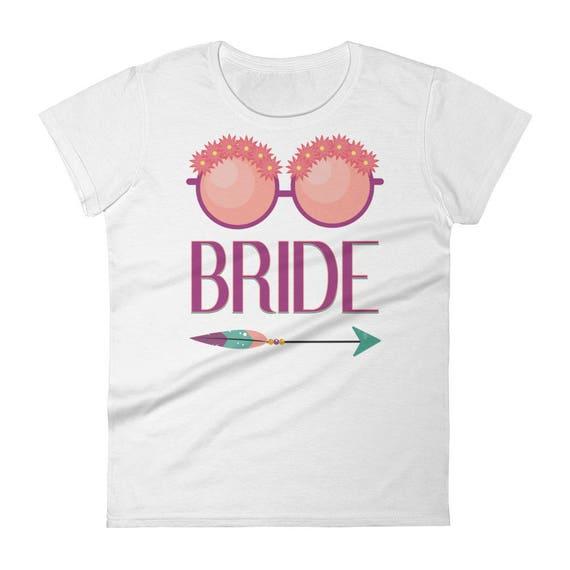 Bride Floral Glasses Bohemian Arrow Women's t-shirt | Wedding, Bachelorette Party T-Shirt | Bride T-Shirts | Bachelorette Shirts