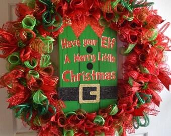 Holiday Wreath for Front Door, Christmas Wreath, Elf, Red & Green Wreath