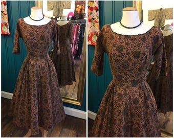 """1950s Mr Mort Patterned Dress Full Skirt W25"""" XS UK8"""