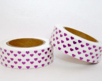 White foil Washi Tape masking tape - Pink Hearts - Christmas gift - packaging - decoration - wedding