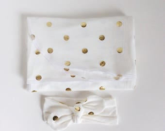 Gold dots- Girl Swaddle Blanket Set and headband - Baby Shower Gift-recieving baby blanket and knot headband newborn swaddle set