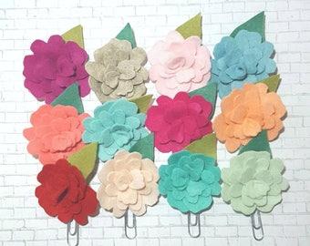 Felt flower planner clips, Valentine's day planner clips, planner clip sets, Valentine's gifts, Galentines gifts