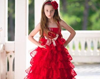 Flower Girl Dress, Princess Dress, Cupcake Dress, Girls Ruffle Dress, Girls Floral Dress, Christmas Dress, Valentine Dress, Vintage Dress