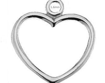 Sterling Silver Heart Charm 15mm Findings PK1 PK5